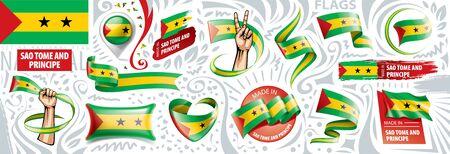 Vector set of the national flag of Sao Tome and Principe Ilustração