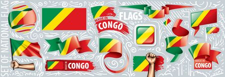 Vector set of the national flag of Congo in various creative designs