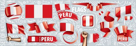 Vector set of the national flag of Peru in various creative designs