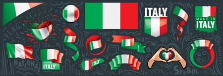 Vector set of the national flag of Italy in various creative designs Illusztráció