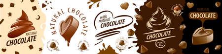A set of creative chocolate   Vector illustration