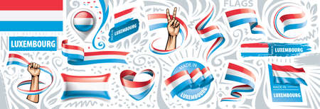 Vector set of the national flag of Luxembourg in various creative designs