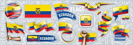 Vector set of the national flag of Ecuador in various creative designs