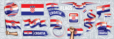 Vector set of the national flag of Croatia in various creative designs 일러스트