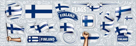 Vector set of the national flag of Finland in various creative designs