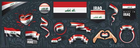 Vector set of the national flag of Iraq in various creative designs
