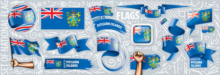 Vector set of the national flag of Pitcairn Islands in various creative designs.