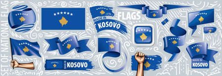 Vector set of the national flag of Kosovo in various creative designs. Illusztráció
