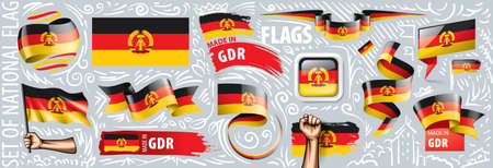 Vector set of the national flag of GDR in various creative designs.