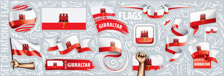 Vector set of the national flag of Gibraltar in various creative designs.