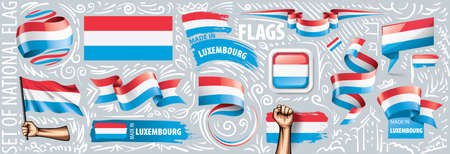 Vector set of the national flag of Luxembourg in various creative designs. Illusztráció