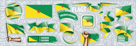 Vector set of the national flag of French Guiana in various creative designs.