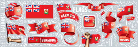 Vector set of the national flag of Bermuda in various creative designs.