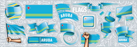 Vector set of the national flag of Aruba in various creative designs.