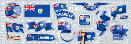 Vector set of the national flag of Anguilla in various creative designs.