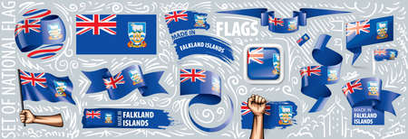 Vector set of the national flag of Falkland Islands in various creative designs. Illusztráció