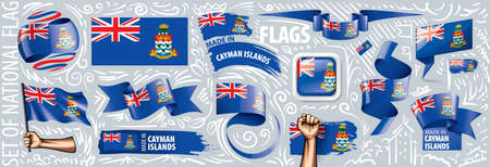 Vector set of the national flag of Cayman Islands in various creative designs.