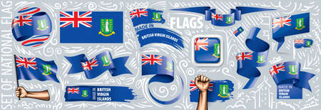 Vector set of the national flag of British Virgin Islands in various creative designs.