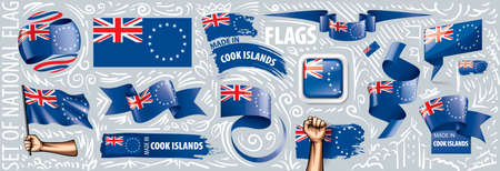 Vector set of the national flag of Cook Islands in various creative designs.