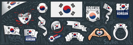 Vector set of the national flag of South Korean in various creative designs. 矢量图像