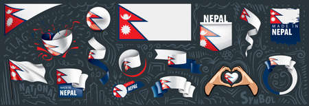 Vector set of the national flag of Nepal in various creative designs. 向量圖像