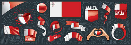 Vector set of the national flag of Malta in various creative designs.