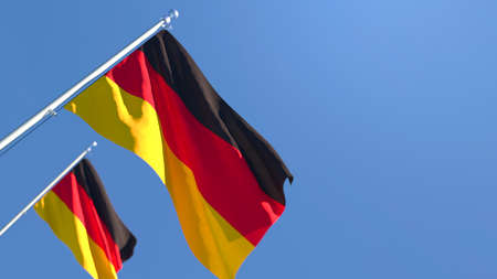 3D rendering of the national flag of Germany waving in the wind against a blue sky