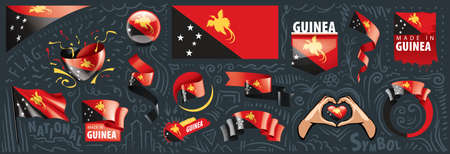 Vector set of the national flag of Papua New Guinea in various creative designs Vecteurs