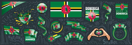 Vector set of the national flag of Dominica in various creative designs