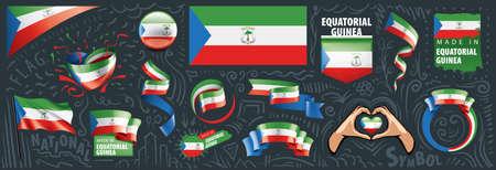 Vector set of the national flag of Equatorial Guinea in various creative designs Ilustración de vector
