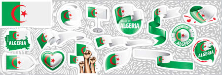Vector set of the national flag of Algeria in various creative designs Illustration