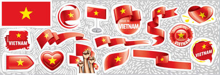 Vector set of the national flag of Vietnam in various creative designs Illusztráció