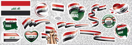 Vector set of the national flag of Iraq in various creative designs Vektorové ilustrace