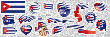 Vector set of the national flag of Cuba in various creative designs Иллюстрация