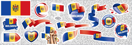 Vector set of the national flag of Moldavia in various creative designs Illustration