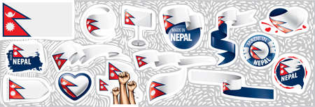 Vector set of the national flag of Nepal in various creative designs