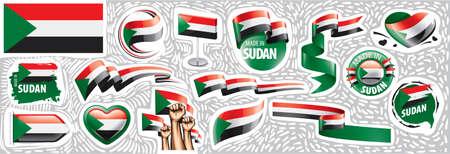 Vector set of the national flag of Sudan in various creative designs Ilustração Vetorial