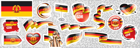 Vector set of the national flag of GDR in various creative designs Stock Illustratie