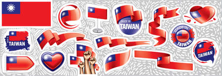 Vector set of the national flag of Taiwan in various creative designs Vetores