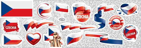 Vector set of the national flag of Czechia in various creative designs