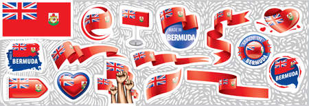 Vector set of the national flag of Bermuda in various creative designs