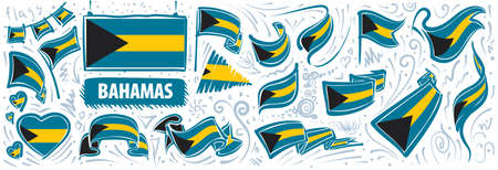 Vector set of the national flag of Bahamas in various creative designs