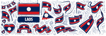 Vector set of the national flag of Laos in various creative designs