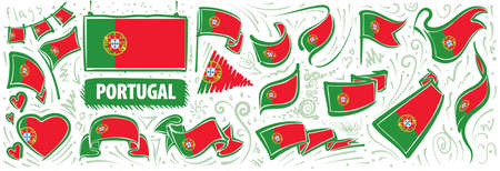 Vector set of the national flag of Portugal in various creative designs