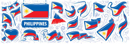 Vector set of the national flag of Philippines in various creative designs Ilustração