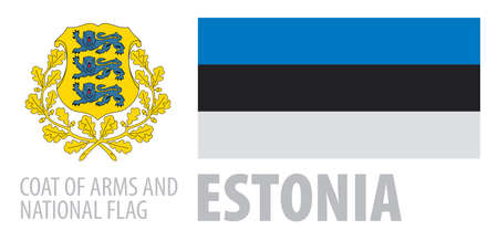 Vector set of the coat of arms and national flag of Estonia
