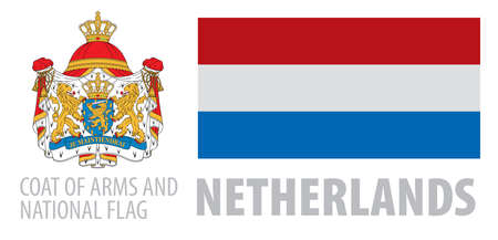 Vector set of the coat of arms and national flag of Netherlands 向量圖像