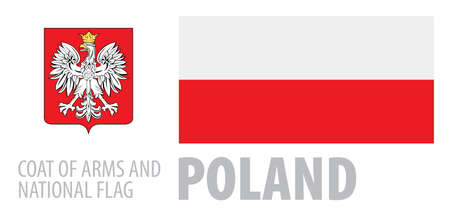 Vector set of the coat of arms and national flag of Poland
