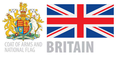 Vector set of the coat of arms and national flag of United Kingdom 向量圖像