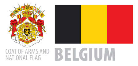 Vector set of the coat of arms and national flag of Belgium